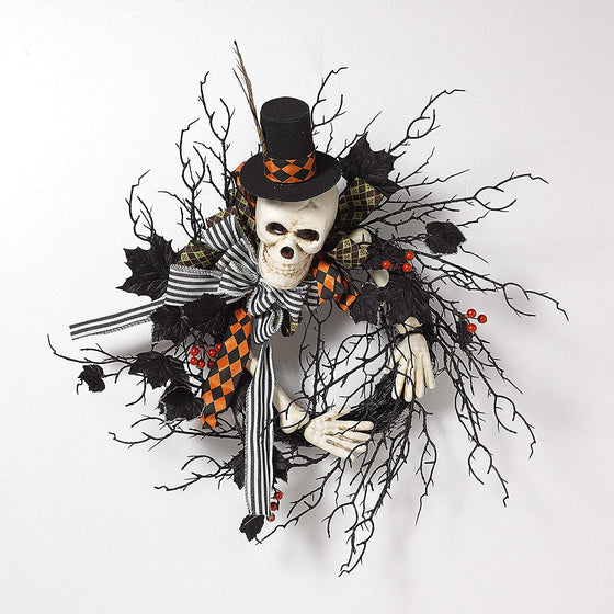GER 22 Inch Skeleton Halloween Wreath, Natural Twig Base in Sparkling Black with Berries and Velvet Leaf Accents