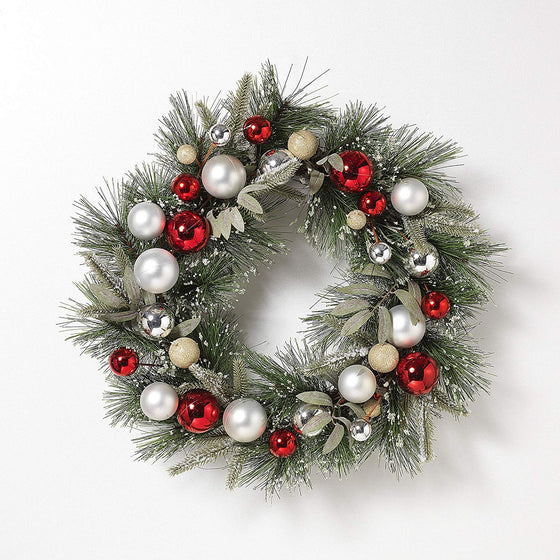21 Inch Iced Christmas Pine Wreath with Ornaments, Artificial Pine, Red, Silver, Gold