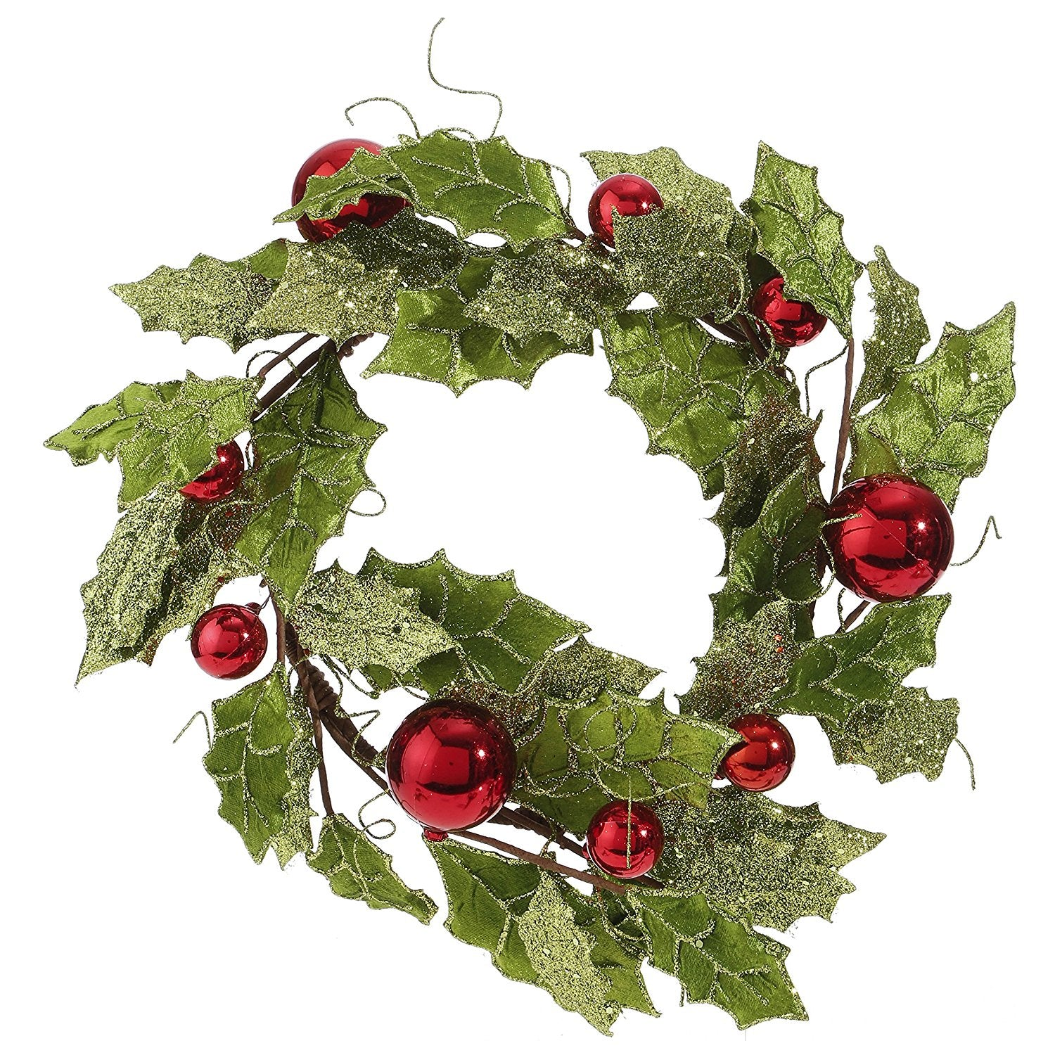Large christmas candle ring with glittered leaves and red for Large outdoor christmas candles