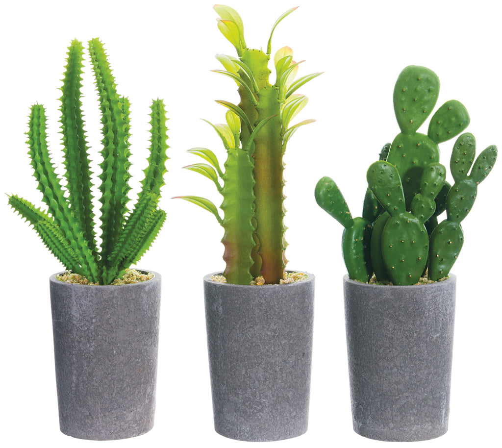 Set of 3 Artificial Potted Cacti - 9 inches high