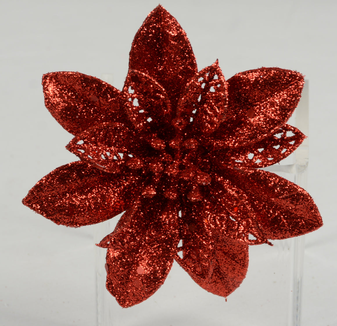 Set of 4 Poinsettia Blooms on Clips, Red Glittered, 4 Inches Diameter - Christmas Ornament Flowers