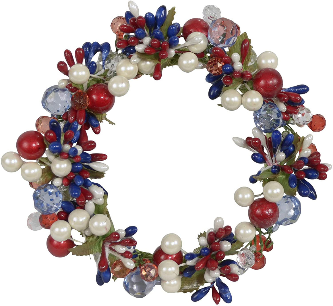5 Inch Patriotic Red, White and Blue Candle Ring, Holds 3.75 Inch Pillar Candle
