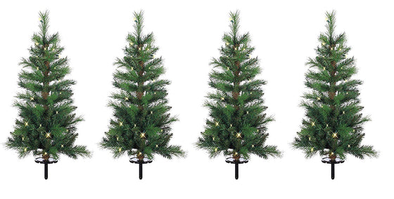 Ten Waterloo Set of 4 Lighted Battery Operated with Timer Outdoor Christmas Pathway Trees - 3 Foot High Mixed Pine Pathway Tree - Multi Function Walkway Tree with 30 LED Lights Each and Lawn Stakes