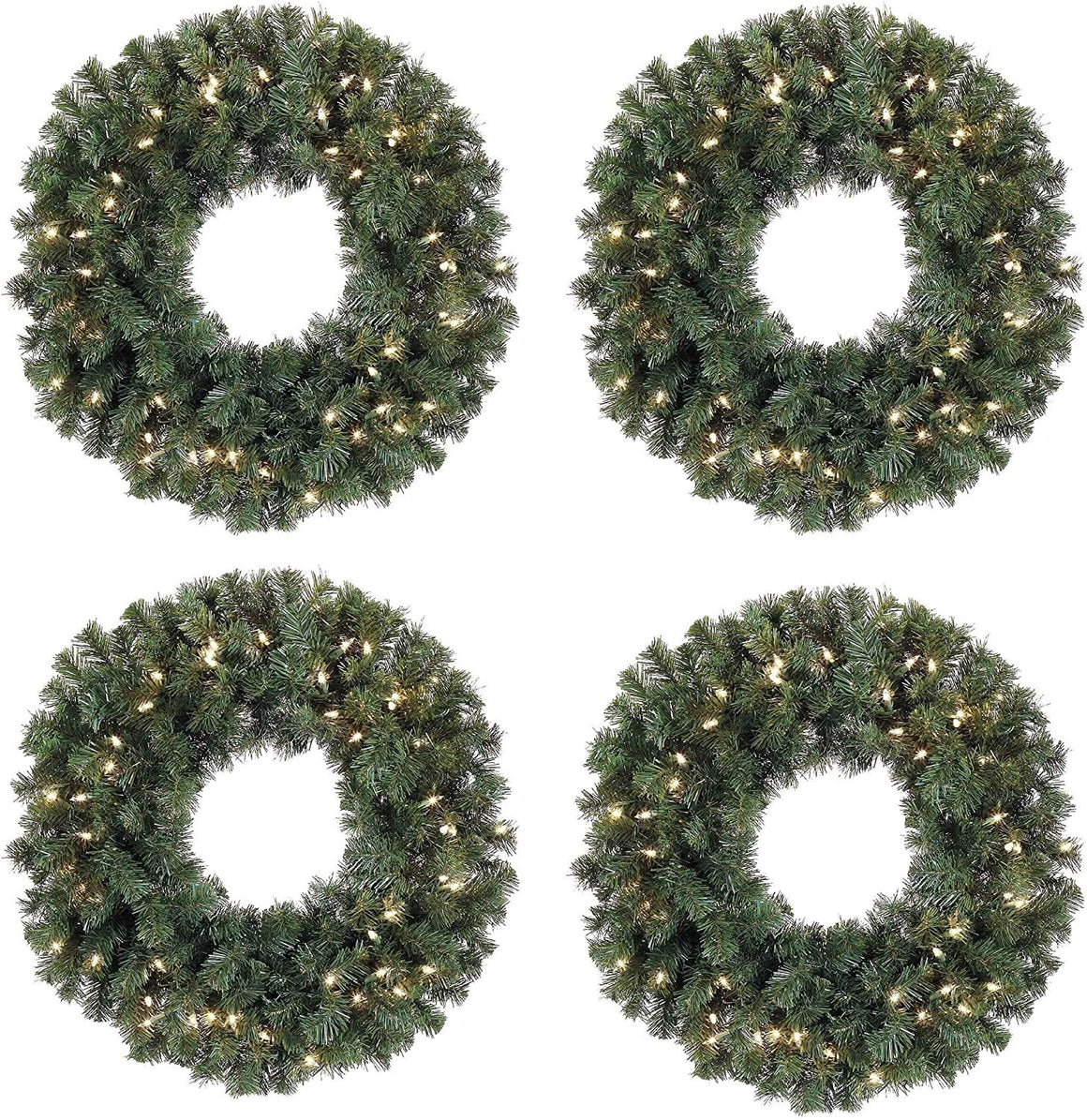 Set of 4, 24 Inch Battery Operated Pre-lit Christmas Pine Wreaths with 50 Led Clear Lights Per Wreath and Timers, Indoor/Outdoor
