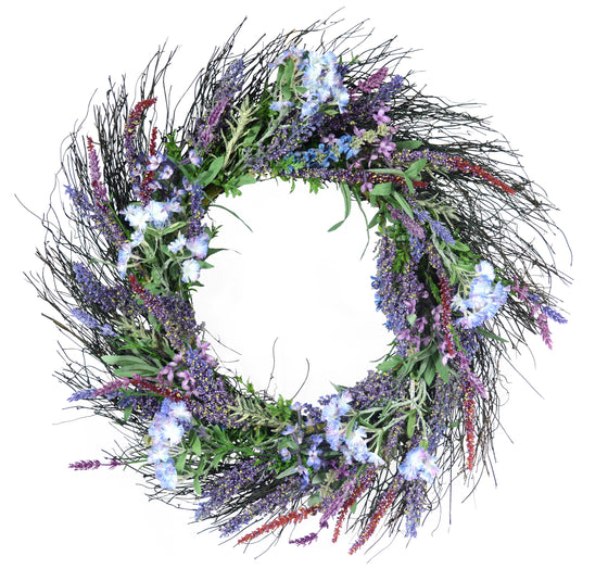 Ten Waterloo 24 Inch Lavender and Lilac Spring Mixed Flower Wreath on Natural Twig Base - Artificial Spring Wreath