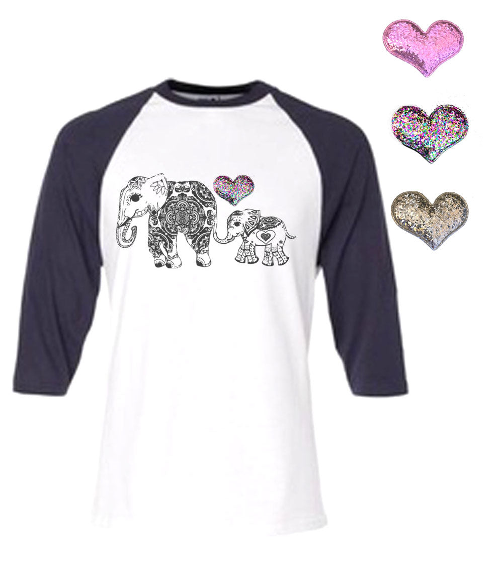 Mi Amore Gigi Elephant Graphic Interchangeable Glitter Heart Top