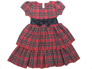 Mi Amore Gigi Red Plaid Satin Bow Holiday Dress