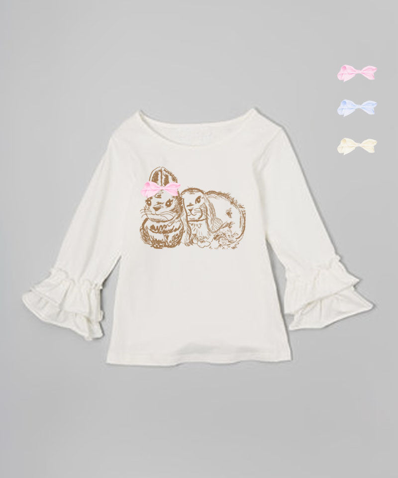 Mi Amore Gigi Cream Ruffle Bunny Graphic Interchangeable Bow Top