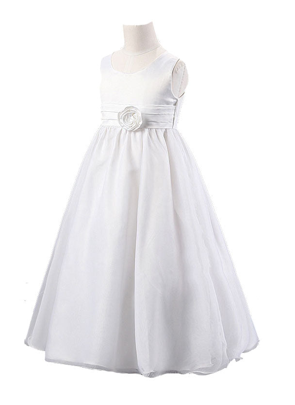 Mi Amore Gigi White Special Occasion Interchangeable Flower Accent Dress