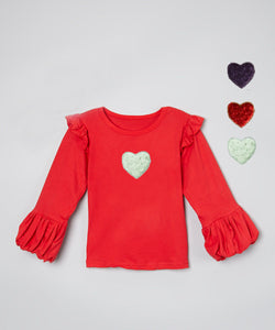 Mi Amore Gigi Interchangeable Heart Double Ruffle Top