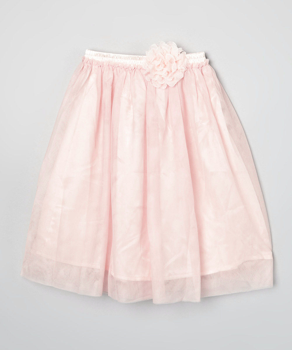 Mi Amore Gigi Long Peach Skirt With Attached Peach Vintage Lace Flower