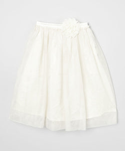 Mi Amore Gigi Long Cream Skirt With Attached Cream Vintage Lace Flower