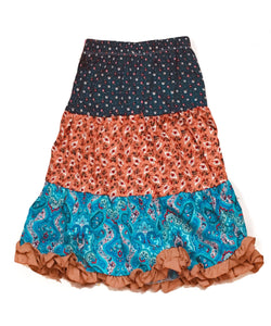 Mi Amore Gigi Long Flower and Paisley Peasant Skirt