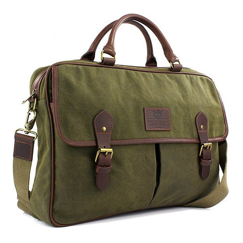 British Bag Company Navigator Khaki Waxed Canvas Briefcase - Wildstags.co.uk