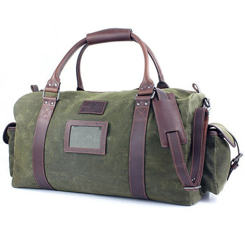 British Bag Company Khaki Waxed Canvas Holdall - Wildstags.co.uk