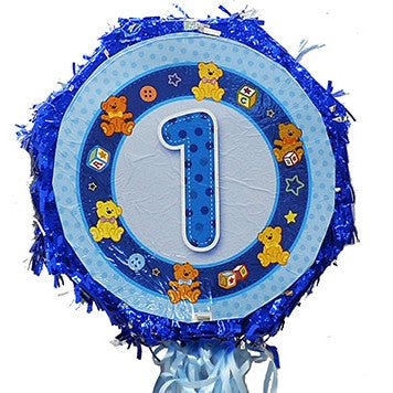 18 Inches Metallic Pull String Pinata - Boys First Birthday