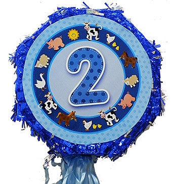 18 Inches Metallic Pull String Pinata - Boys Second Birthday
