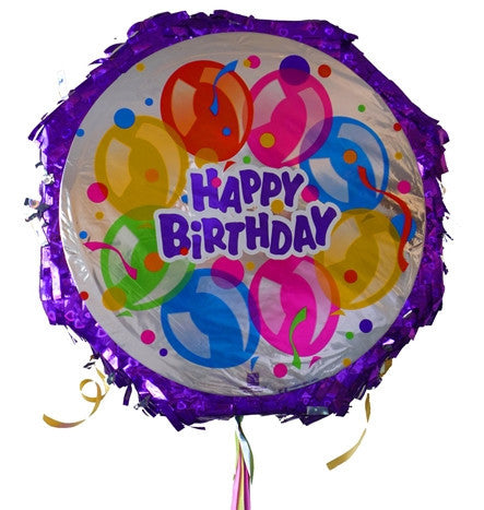 18 Inches Metallic Pull String Pinata - Happy Bday Balloons 1