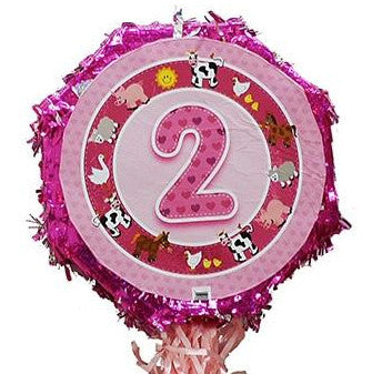 18 Inches Metallic Pull String Pinata - Girls Second Birthday