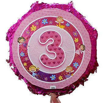 18 Inches Metallic Pull String Pinata - Girls Third Birthday
