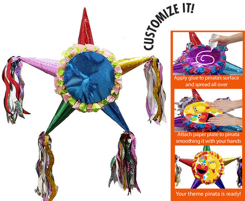 Customizable Fiesta Star Pinata - Princess Colors 24""