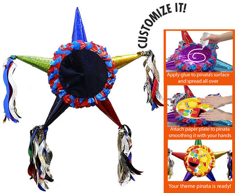 Customizable Fiesta Star Pinata - Super Hero Colors 24""