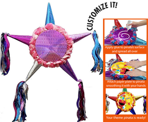 Customizable Fiesta Star Pinata - Girls Pastel Colors 24""