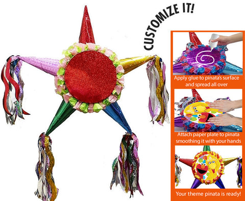 Customizable Fiesta Star Pinata - Girls Bright Colors 24""