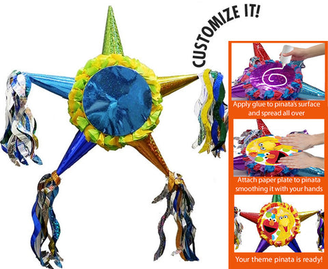 Customizable Fiesta Star Pinata - Boys Bright Colors 24""
