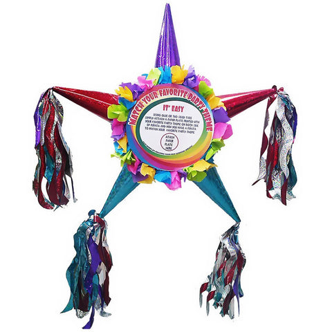 Customizable Fiesta Star Pinata - Assorted Colors 24""