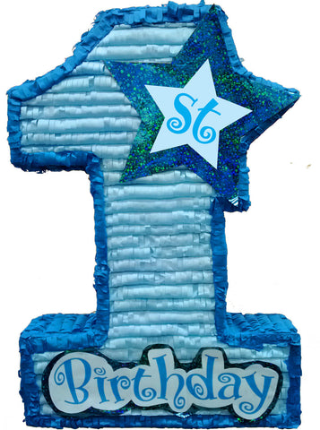 Large Premium First Birthday Blue Pinata