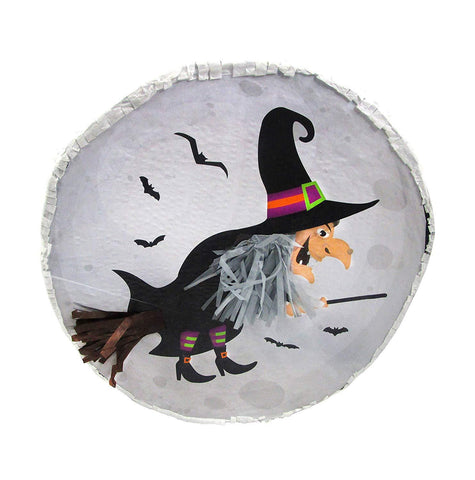 Witch in the Moon Halloween Pinata