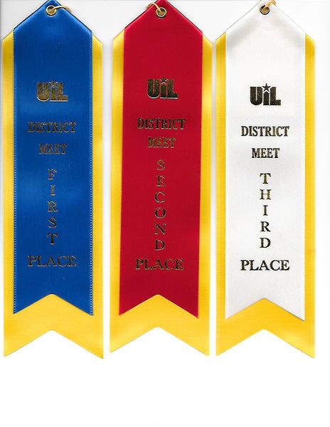 UIL District Meet Ribbons and Invitational Academic Meet Ribbons