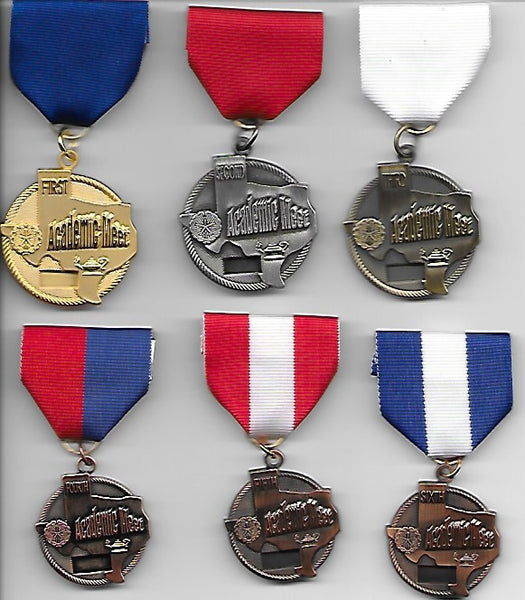 Invitational or Practice Academic Meet Medals - Events A thru J