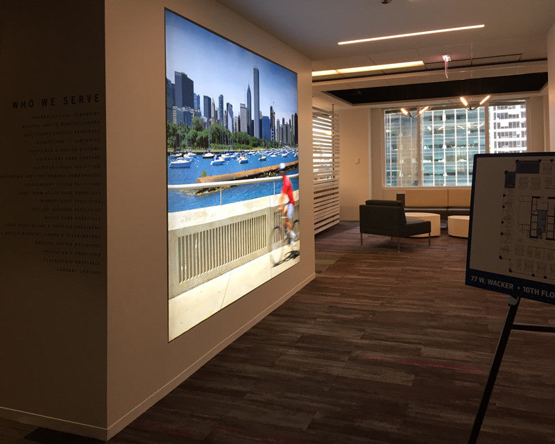 Large Format Frameless Fabric LED Light Boxes for Chicago Office Installation