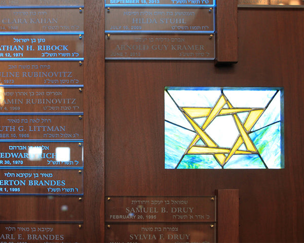 LED Panel Illumination of Stained Glass in Synagogue Memorial Board