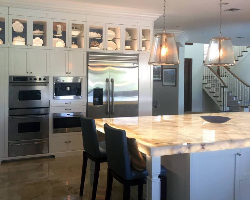 Quartzite Island Countertop Illuminated By Led Panels