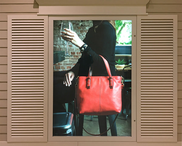 Hidden Hinge Light Box in Faux Window Display for Vera Bradley