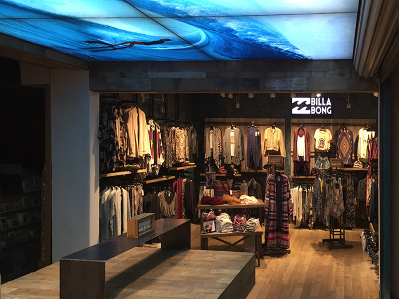 Large Format Frameless Fabric LED Light Boxes, Billabong, Santa Barbara