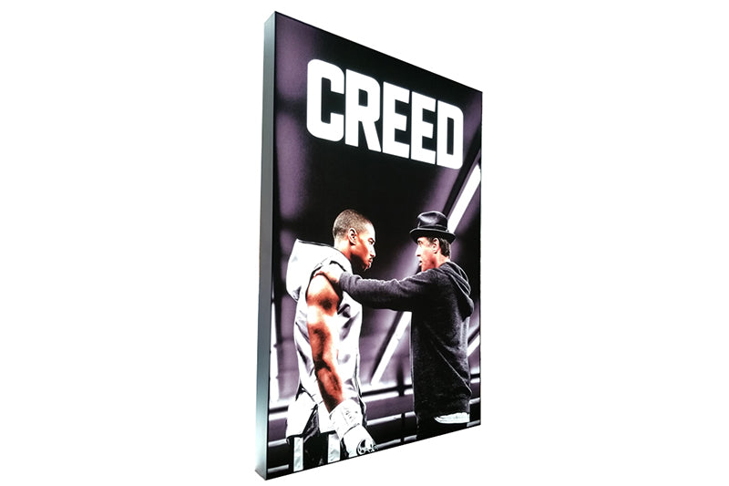 "Two Sided Frameless Fabric LED Light Box, 48"" x 72"", silver finish, image copyright New Line Cinema"