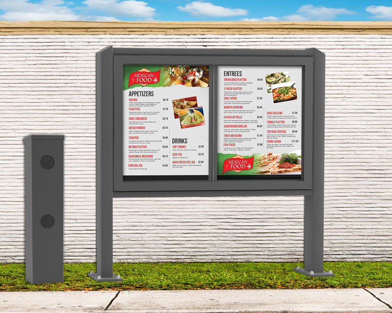 DSA Two Panel Drive-Thru Menu Board and Speaker Post