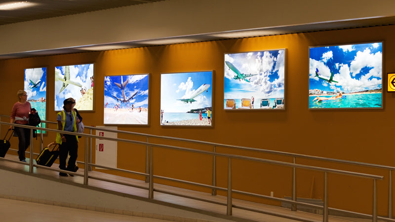 DSA LED Light Boxes at Princess Juliana Airport, Saint Martin in the Caribbean
