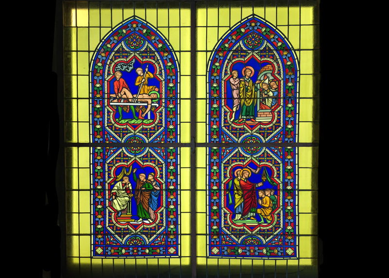 "LED Panel Illumination of Stained Glass in Private Residence, two 34"" x 78"" panels"