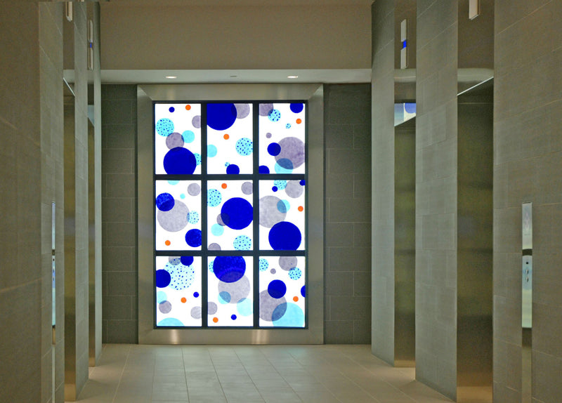 "Fused Glass Artwork by Washington Glass Studio, 74.25"" w x 110.25"" h, Illuminated by DSA LED Light Panels, commercial lobby in Bethesda, MD"