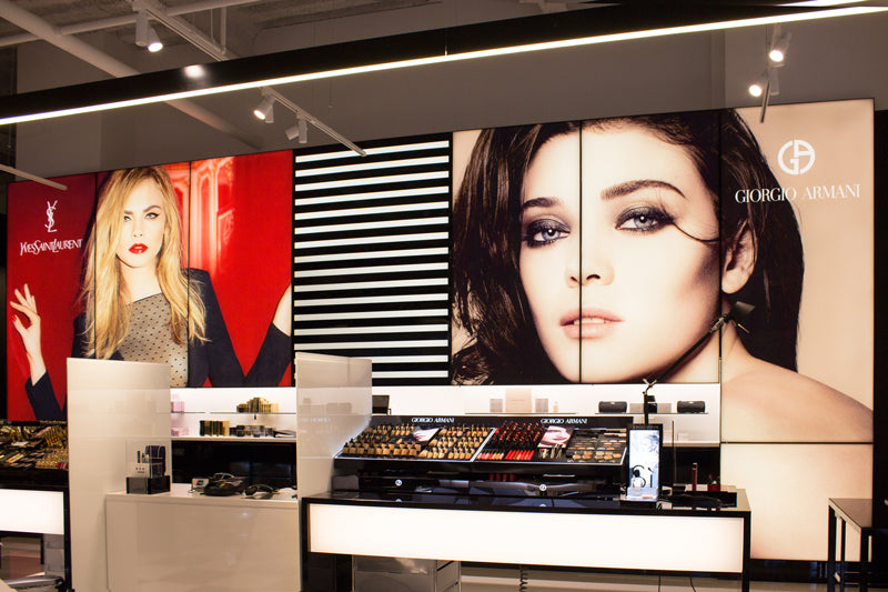 DSA Large Format Frameless Fabric LED Light Boxes in Bloomingdale's Beverly Center