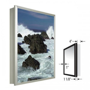 "NEW - 22"" x 28"" Recessed Front Access Light Box in Silver"