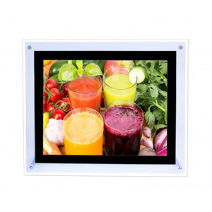 "8.5"" x 11"" Tabletop Crystal LED Photo Frame Silver Border"