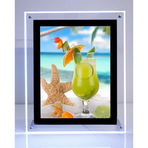 "8.5"" x 11"" Tabletop Crystal LED Photo Frame Black Border"