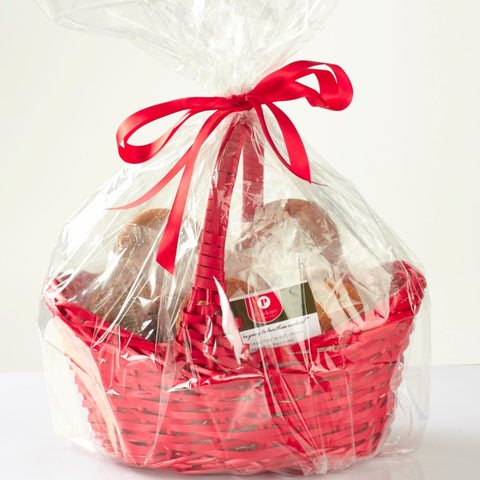 Red cookie gift basket with bow