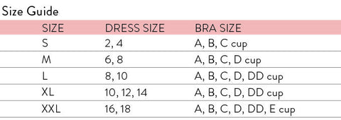 size chart Olivia and ocean swimsuits